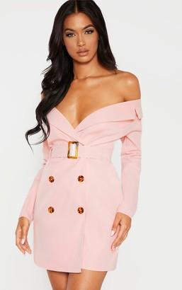 Bardot Loccoapp Dusty Pink Tortoise Button Belted Blazer Dress