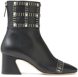 Alberta Ferretti Embellished Leather Ankle Boots