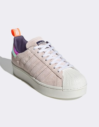adidas x Girls are Awesome Superstar trainers in navy and pink