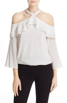 Alice + Olivia Women's 'Layla' Stretch Silk Cold Shoulder Ruffle Top