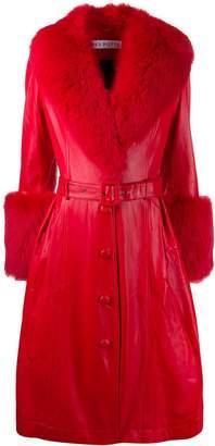 Saks Potts belted leather midi coat