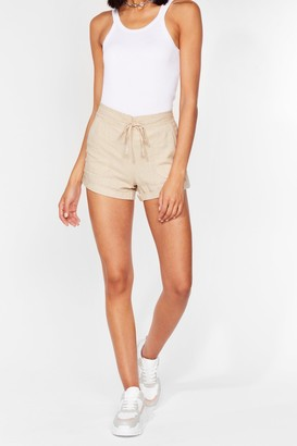 Nasty Gal Womens Truly Elastic for You Mid-Rise Shorts - Stone