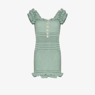 She Made Me Inka off-the-shoulder crochet dress
