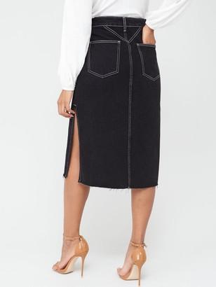 Very Side Split Midi Skirt - Black