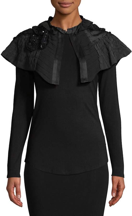 Dries Van Noten Women's Floral Cape Bodycon Silk Dress