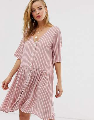 Pieces pinstripe t-shirt dress-Brown