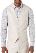 Perry Ellis Big and Tall Linen-Cotton Herringbone Vest