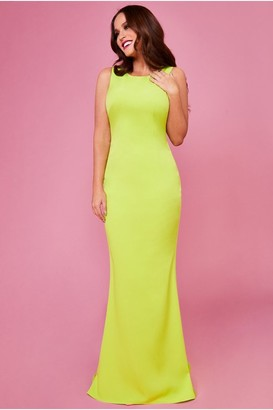 Linzi Goddiva Vicky Pattison Lime Low Back Strap Bow Maxi Dress
