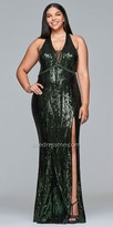 Faviana Strappy Sequin Embellished High Slit Plus Size Prom Dress