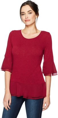 Foxcroft Women's Mixed Fabric Pullover Knit