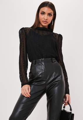 Missguided Black Lace Victorian Puff Sleeve High Neck Top