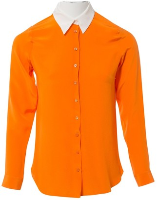 Christian Dior Orange Silk Tops