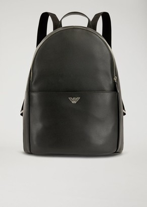Emporio Armani Backpack In Boarded Leather With Front Pocket