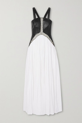 Gabriela Hearst Athena Tulle-trimmed Leather And Linen Maxi Dress - Ivory