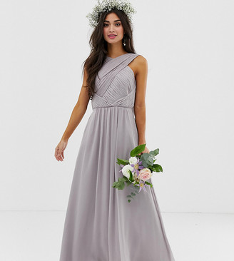 Asos DESIGN Petite Bridesmaid cross front soft drape maxi dress-Grey