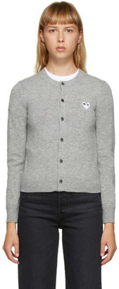 Comme des Garcons Grey and White Heart Patch Cardigan