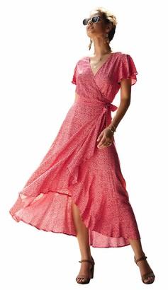 VANVENE Women's Vintage Dress Polka Dots Tea Party Dress Summer Boho Maxi Dress Wrap Long Dress Deep V Neck Casual Dress Red XL