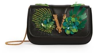Versace Mini Embellished Leather Virtus Shoulder Bag