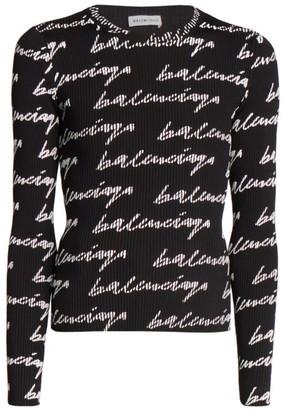 Balenciaga Logo Ribbed Crewneck Sweater