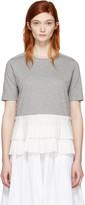 Marni Grey Pleated Hem T-Shirt