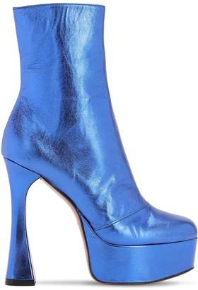 Amina Muaddi 130mm Dua Metallic Leather Boots