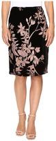 Ivanka Trump Floral Burnout Velvet Knee Length Skirt