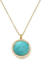 Ippolita Gold Rock Candy Lollipop Diamond Turquoise Pendant Necklace