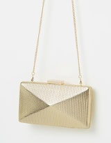 Olga Berg Mica Metallic Angular Pod Clutch