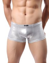 BRAVE PERSON Sexy Faux Leather Underwear Boxer Briefs For Men Fashion Fitness Shorts C33 (L, )