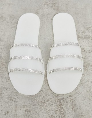 Truffle Collection embellished jelly sliders in white