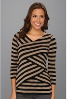 Vince Camuto 3/4 Sleeve Stripe Tiered Top (Light Mocha) - Apparel