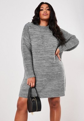 Missguided Plus Size Gray Rib High Neck Sweater Dress