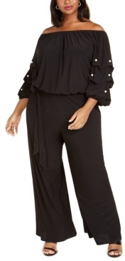 MSK Plus Size Embellished Off-The-Shoulder Jumpsuit