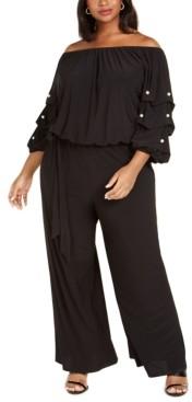 MSK Plus Size Embellished Off-The-Shoulder Jumpsuit