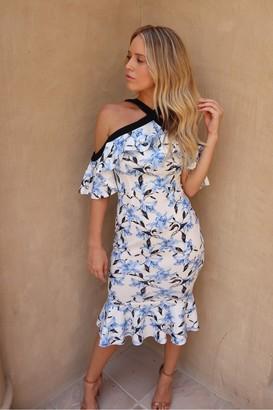 J.M.TAIT Cold Shoulder Floral Peplum Midi Dress