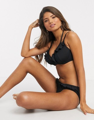 Pour Moi? Pour Moi Fuller Bust Island Vibe double strap underwired bikini top in black