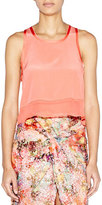 Nicole Miller Sleeveless Silk Sheer-Hem Crop Tank