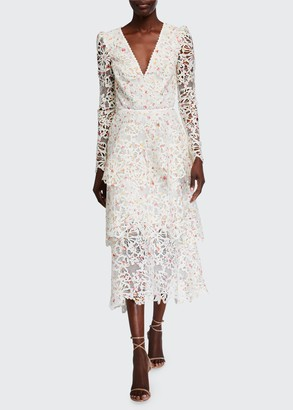 Monique Lhuillier Floral Lace Long-Sleeve Dress