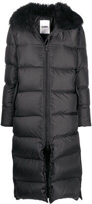Yves Salomon Faux-Fur Trim Puffer Coat