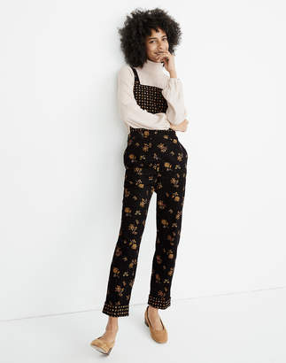 Madewell Petite Corduroy Cross-Back Overalls in Forest Floral Mix