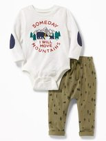 Old Navy Graphic Bodysuit & Printed Pants Set for Baby