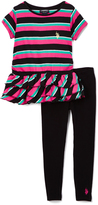 U.S. Polo Assn. Black & Hot Pink Stripe Tee & Leggings - Toddler & Girls