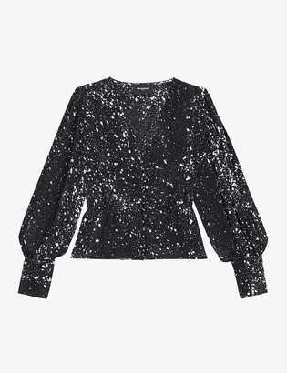 The Kooples Graphic-print balloon-sleeved silk-blend top