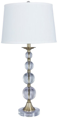 """Fangio Lighting 30.5"""" Crystal and Metal Table Lamp, Antique Brass, Crystal Base"""