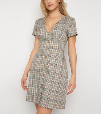 New Look Check Print Button Front Mini Dress