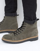 Asos Lace Up Monkey Boots In Grey Suede