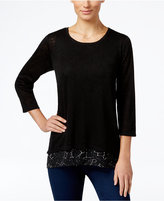 Style&Co. Style & Co. Printed-Hem Layered-Look Top, Only at Macy's