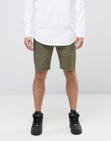 Asos Chino Shorts With Raw Edge And Oil Wash In Green