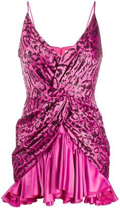 Giuseppe di Morabito Leopard Sequin Twist Front Dress