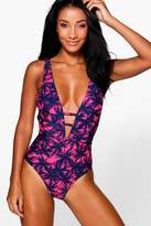 Boohoo Maldives Palm Cross Over Swimsuit